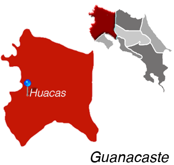Map of Huacas, Costa Rica