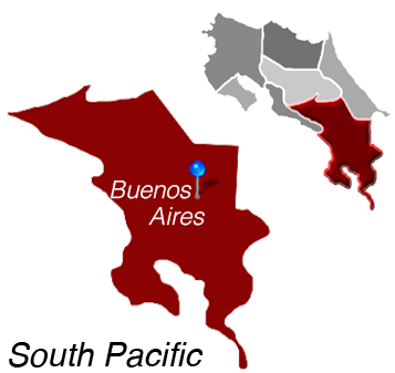 Map of Buenos Aires, Costa Rica