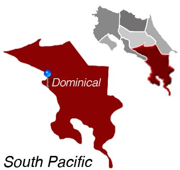 Map of Playa Dominical, South Pacific, Costa Rica