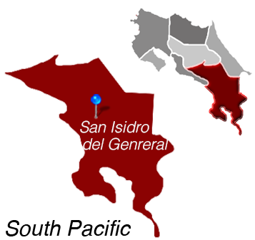 Map of San Isidro del General, Costa Rica