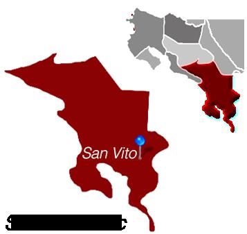 Map of San Vito, Costa Rica